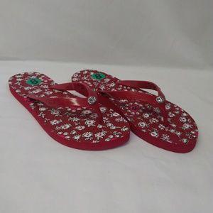 Coach Abbigail Flip Flops 8 Red Floral